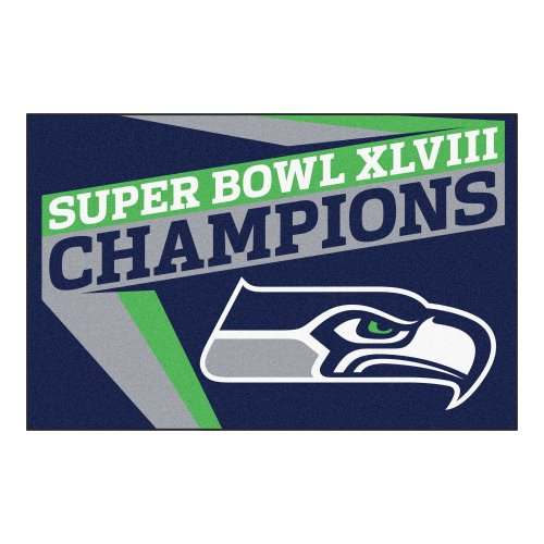 Fanmats (16213 Seattle Seahawks Super Bowl XLVIII Champions Nylon Universal Starter Rug
