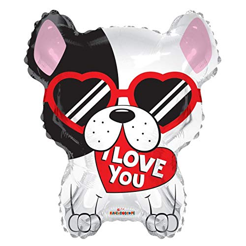 I Love You French Bulldog Frenchie 18'' Mylar Balloon I Love You Birthday Party Decorations Supplies ()