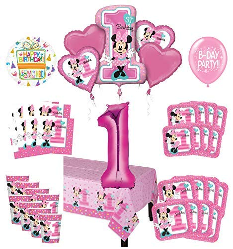 Mayflower Products Minnie Mouse 1st Birthday Party Supplies 8 Guest Decoration Kit and Balloon Bouquet -
