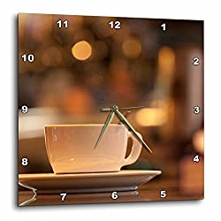 3dRose Danita Delimont - Beverages - Italy, Venice. A cappuccino on the country of a cafe. - 15x15 Wall Clock (dpp_257717_3)