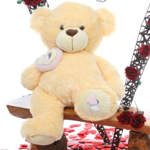 "Giant Teddy Honey Pie Big Love 30"" Lovable Butterscotch Cream Snuggly Valentines Day Large Teddy Bear - Butterscotch Bear"