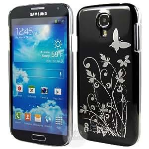 Negro Mariposa Funda duro Cover Para Samsung Galaxy S4 i9500