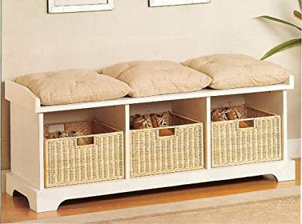 Merveilleux Coaster Storage Bench With Baskets And Cushions, White