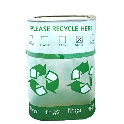 Amscan Flings Bin - Recycle Patented Pop-Up Trash Bin, 22 x 15 x 10/13 Gallon, Green