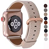 JSGJMY Apple Watch Band 38mm Women Light tan Vintage Genuine Leather Replacement Loop Iwatch Strap with Series 3 Gold Metal Clasp for Apple Watch Series 3 Gold Aluminum