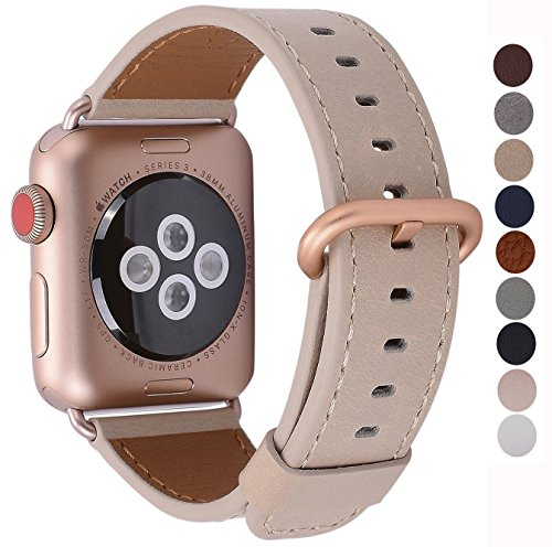 JSGJMY Apple Watch Band 38mm Women Light tan Vintage Genuine Leather Replacement Loop Iwatch Strap with Series 3 Gold Metal Clasp for Apple Watch Series 3 Gold Aluminum by JSGJMY