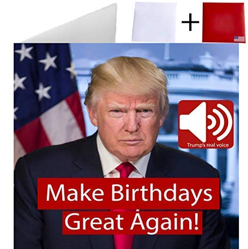 Happy Birthday Talking Trump Card - REAL Voice - Beautiful design - Wishes You A Happy Birthday - For Trump Lovers - Greeting From President Of The United States - 2 Envelopes Included HomeTeam USA ()