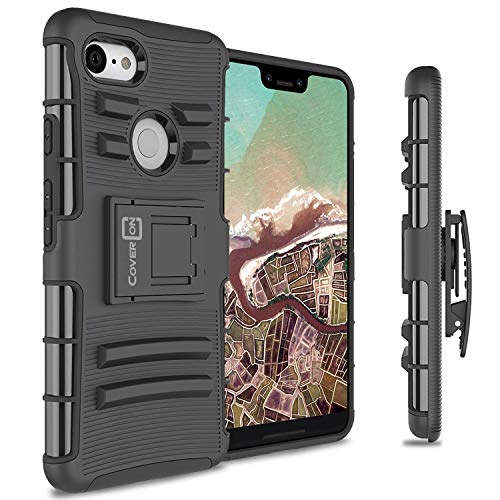 CoverON Explorer Series Google Pixel 3 XL Holster Case, Protective Heavy Duty Kickstand Phone Cover with Belt Clip Holster for Google Pixel 3 XL - Black