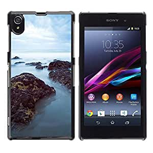 // PHONE CASE GIFT // Duro Estuche protector PC Cáscara Plástico Carcasa Funda Hard Protective Case for Sony Xperia Z1 L39 / Mar Misty Rocks /