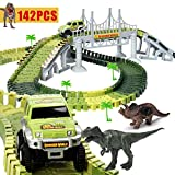 HOMOFY Slot Car Race Track Sets Dinosaur Toys Jurassic World with 142 Pieces Flexible Tracks 2 Dinosaurs,1 Military Vehicles,4 Trees,2 Slopes,1 Double-Door and 1 Hanging Bridge for Children's Gift