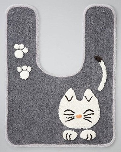 (Tortoise Pretty Cat Series Toilet Mat Bathroom Grey 46765 60x80cm from Japan)