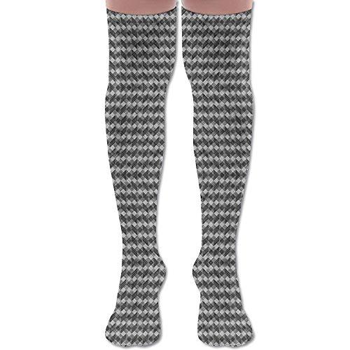 (HFJDLSK Knee Long Socks Tube Thigh-High Sock Stockings - Argyle Checker Plaid Linen (1264) Print for Girls & Womens)