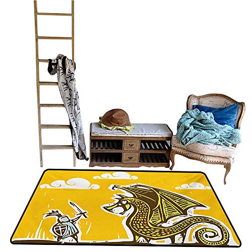 coolteey Home Carpet Floor Mat Dragon,Knight with Shield in Steel Armour Against Dragon with Wings Cartoon Middle Ages Design,Yellow.jpg 24
