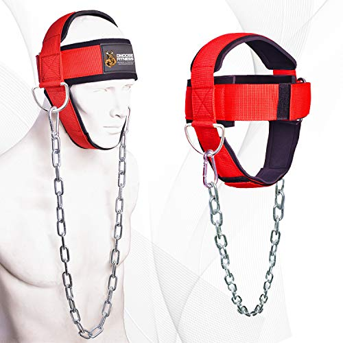 DMoose Fitness Neck Harness for Weight Lifting, Resistance Training, or Injury Recovery with Long Steel Chain and Neoprene Head Cap, Improve Muscle Strength