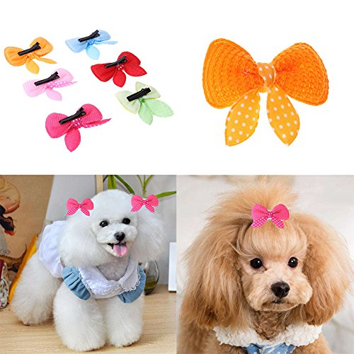 10pcs Cute Pet Dog Cat dog grooming Beauty Supplies Bows Hairpin Pet Hair Clips pet shop dog acessorios Random Color