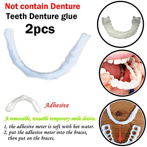 YunZyun Whitening Teeth Cosmetic Teeth 2pcs. Natural, Bleached,Instant Smile Upper Veneer Fit at Home Do It Yourself Smile Makeover! (White) (Adhesive Moldable Strips)