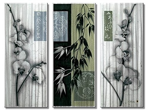 Metal Wall Art Sculpture Asian Orchid of 3 23.5' T x 32' W -