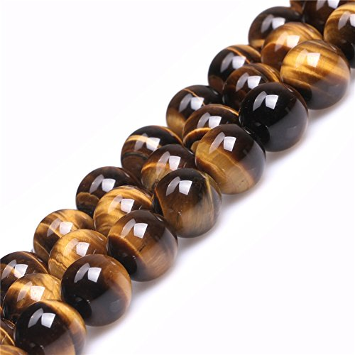 Yellow Gold Round Tiger (AAA Grade Natural Genuine Gemstone Semi Precious Stone Beads for jewelry Making 15'' (Round Gold Yellow Tiger Eye/12MM))
