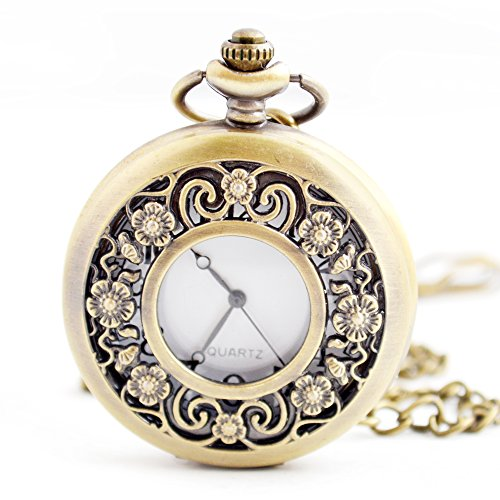 - Flower Series Steampunk Quartz Pocket Watch Fob Retro Half Hunter Scale Pocket Watches for Women with gift box