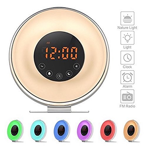 Wake Up Light Alarm Clock, Digital Sunrise Alarm Clock [2018 Upgraded] with Multi-Color LED Light, 6 Nature Sounds, FM Radio, Touch Control, Sunrise and Sunset Simulation Perfect for Bedside
