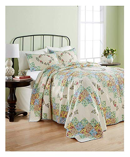 Martha Stewart Collection Cotton Coneflower Diamond Quilted Queen Bedspread