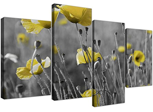 Wallfillers Yellow Grey Poppy Flower - Poppies Floral Canvas - Split 4 Piece - 51 Inches Wide - 4258 (Country Print Wallpaper)