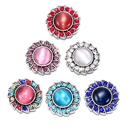 Soleebee 6pcs Mixed Alloy Rhinestones Snap Buttons Jewelry Charms (Colorful Opal)