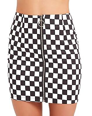 Jollymoda Women's Elegant Mid Waist Above Knee O-Ring Zipper Front Plaid Checkered Mini Skirt