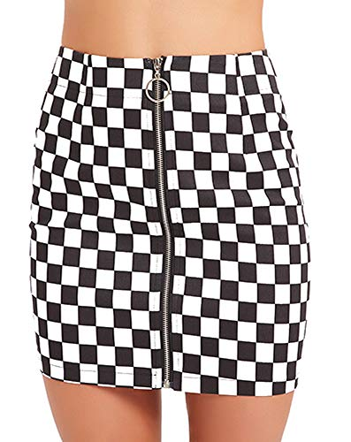 Jollymoda Women's Elegant Mid Waist Above Knee O-Ring Zipper Front Plaid Mini Checkered Skirt