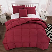 Unite Down Duck Down Feather Comforter/Duvet/Quilt Winter 100% Organic Cotton (Twin 68x86inch, Red)