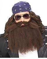 """Forum Novelties Men's Biker Beard And Mustache Set Brown 14"""" Long"""