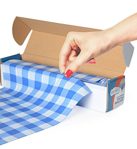 Blue Gingham Picnic / Party Plastic Tablecloth Roll, Disposable Picnic colored Table cloth On a Roll With Self Cutter Box,Cut Tablecloth To Your Own Table Size,Indoor/Outdoor, By Clearly Elegant ()