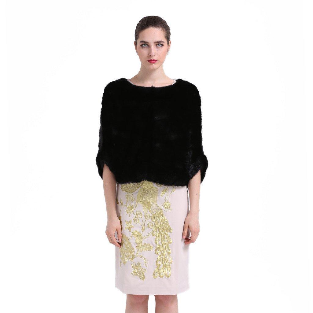 Women's Black Whole Genuine Mink Fur Batwing Pullover Shawl Wraps Cape