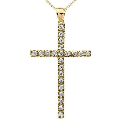 "2018048512e249 10k Yellow Gold Cubic Zirconia Elegant Cross Pendant Necklace, 16"""