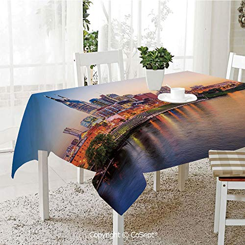 SCOXIXI Polyester Tablecloth,Cumberland River Nashville Tennessee Evening Architecture Travel Destination,Fashionable Table Cover Perfect for Home or Restaurants(60.23