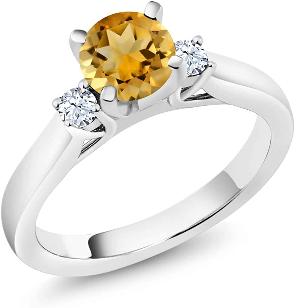 Gem Stone King 925 Sterling Silver Yellow Citrine and White Created Sapphire 3-Stone Women Engagement Ring (0.96 Ct, Available 5,6,7,8,9)