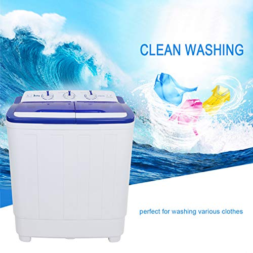 ZOKOP Portable Washing Machine for Compact Laundry Mini Semi-automatic Twin Tube Washer Dryer Combo for Dorm Apartment College, 110V, 11LBS Capacity - White & Blue -