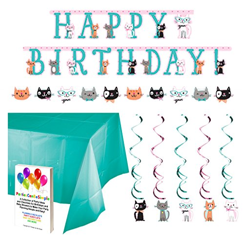Purr-Fect Cat Party Decoration Supply Kit - Banners Hanging Decorations Table Cover by Parties Can Be Simple