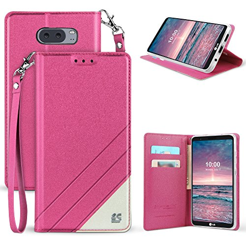 Band Flip Face Wrist Watch (LG V30 Case, Mstechcorp [Kickstand] [Card Slot] PU Leather Folio Flip Wallet Case Cover With Wrist Strap For LG V30 (Hot Pink))