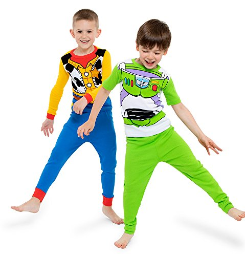 Disney Big Toy Story Boys' 4-Piece Cotton Pajama Set, Green, 8 -