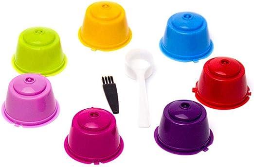 Paquete de 7 cápsulas de café reutilizables rellenables para Nescafe Dolce Gusto, tazas de colores con cepillo y cuchara, compatible con todos los Dolce Gusto/Genio//Circolor/Melody: Amazon.es: Hogar