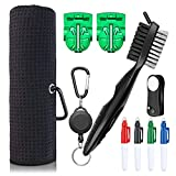 XAegis GT13 Golf Towel and Brush to Clean Golf Club with Magnet Divot Tool,Golf Ball Liners,Sharpie pens – 9 in 1 Golf Accessories