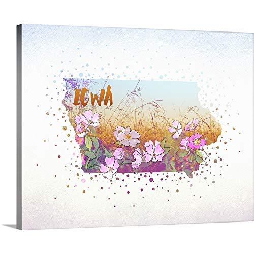 "Iowa State Flower (Wild Rose) Canvas Wall Art Print, 20""x16""x1.25"""