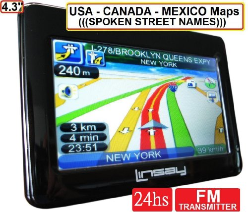LINSAY LSY-750 4.3 The UNIQUE Portable GPS 7 in 1 with Multimedia Text to Speech, USA, Canada Maps , Build in FM Transmitter, Mp3 Player, Video Player, Photo Viewer, Data Storage up to 8 GB SD Card