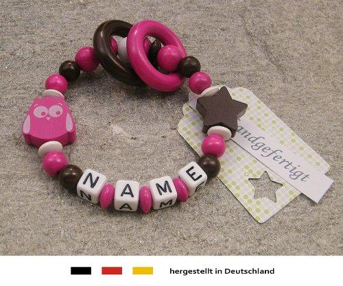 Baby Greifling Beißring geschlossen mit Namen | individuelles Holz Lernspielzeug als Geschenk zur Geburt & Taufe | Mädchen Motiv Eule & Stern in pink