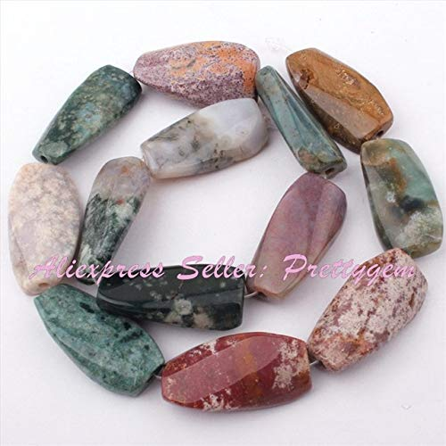 Rectangle Ocean Beads Jasper - Calvas 15x30mm Rectangle Twist Amazonite,Sandstone Beads Natural Stone Beads for Necklace Earring Jewelry Making 15