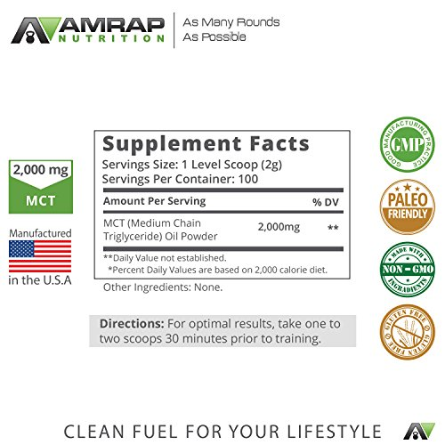 AMRAP Nutrition – Coconut MCT Powder – 100% Medium-Chain Triglyceride Powder Made from Pure Coconut Oil – 2,000mg of Healthy Fatty Acids for Long-Lasting Energy - Burn More Fat