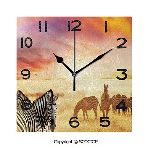 Frameless Clock 3D DIY Decorative Clock African Zebras At Fairy Sunset On The Grassland Wildlife Adventure Theme In The Nature 8 Inch Large Size Square Wall Clock for Living Room Bedroom Office Hotel