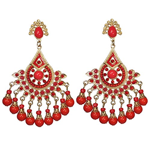 Large Rhinestone and Resin Beaded Post Dangle Bohemian Style Chandelier Earrings (Red Gold Tone)