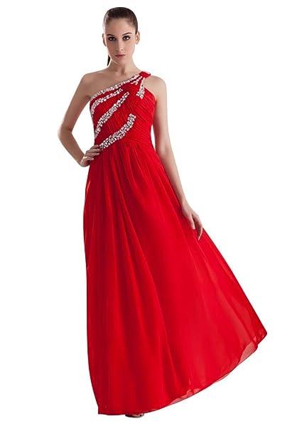 George Bride lentejuelas gasa un hombro rojos largos para vestido de noche rojo 48